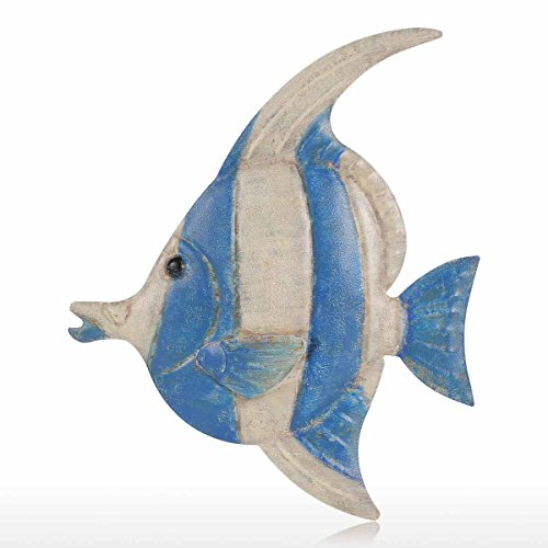 Tooarts Hanging Fish Wall Decoration in Iron, Creative artisan Ornament (1#)
