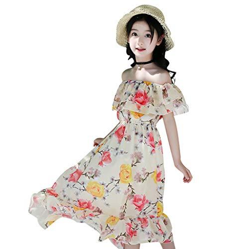MRULIC Mädchen Strandkleid Sommer Chiffon Kleid kühl und Schön Blumen Urlaub Kleid Schmetterling aus Schulter Prinzessin Kleid Geraffte(1-Gelb,4-5 Jahre)