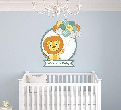 Welkom Baby Leeuw Ballons Kwekerij - Baby Meisje Jongen Unisex Decoratie - Muursticker voor Thuis Interieur Decoratie Auto Laptop