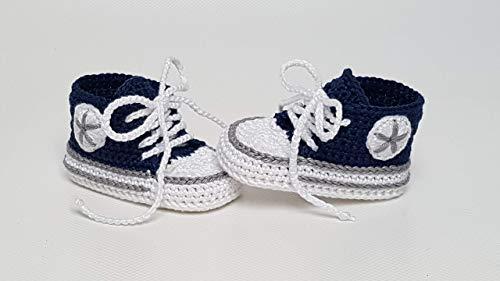 Babyschuhe gehäkelt-Sneakers-marine/grau-Turnschuhe-Sportschuhe-Krabbelschuhe