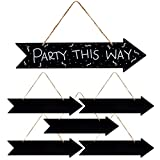Hanging Chalkboard Signs, Right Arrow Design (13.25 x 3.5 Inches, 6 Pack)