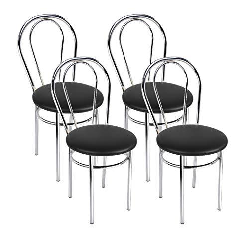 BSD Silla de Comedor de Cuero Sintético de Diseño Moderno, Set de 4 Sillas de Comedor con Patas de Metal - Tulipan Cromo - Color: Negro-a - Set of 4