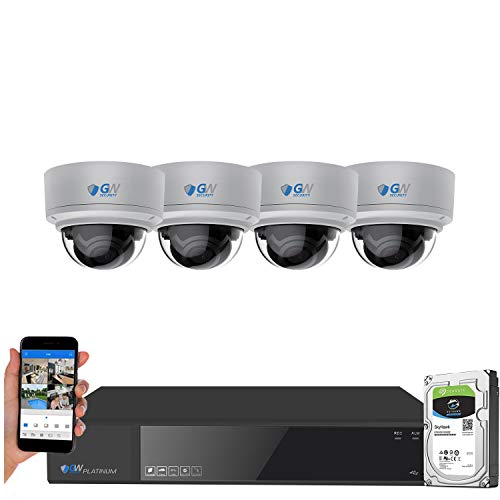 GW Security AutoFocus 4K (8MP) Smart AI Color Night Vision IP Camera System, 8 Channel H.265+ 4K NVR, 4 x UltraHD 4K Dome Microphone POE Security Camera 4X Optical Motorized Zoom Outdoor Indoor