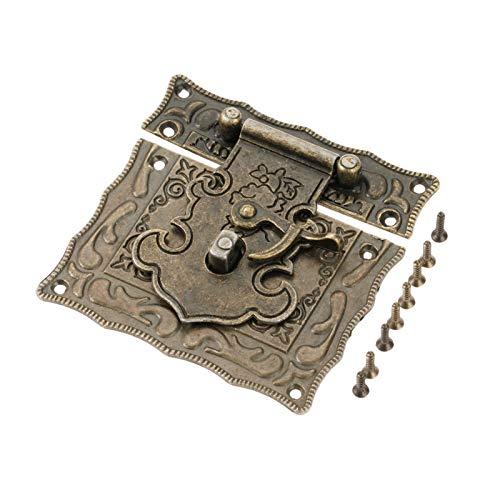 Door Cabinet Padlock Hasp Stainless Steel Padlock Antique Brass Wooden Case Hasp Vintage Decorative Jewelry Box Suitcase Hasp Latch Hook Furniture Buckle Clasp Lock 84 * 81mm