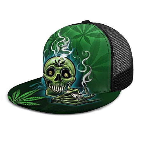 Gorra de béisbol Happy Skull Head Smoking Marihuana Leaf Weed Baseball Caps Trucker Hat Summer Sun Sports Outdoor Snapback Sombreros Negro