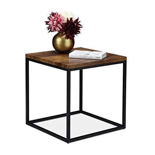 Relaxdays Beistelltisch, quadratisch, 45 cm, Industrial, Abstelltisch Wohn- & Schlafzimmer, Metall, Holzoptik/schwarz