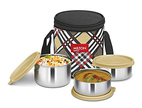 Milton Smart Meal Insulated Lunch Box, Set of 3, Yellow, Stainless Steel
