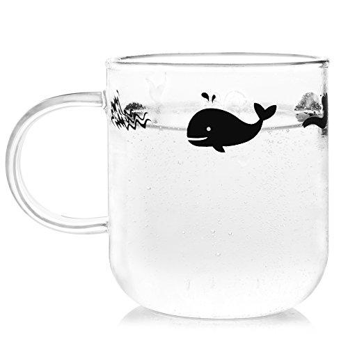 ELITEA Glass Mug with Handle Clear Cute Coffee Mugs Tea Cup with Whale Print 12.2oz