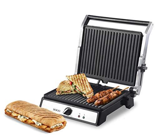 SOGO SAN-SS-7144 SS-7144 Sandwichera Press Apertura de 180º, Panini Grill, Plancha de Asar, Parrilla Eléctrica Antiadherente, 2000 Watts, Acero Inoxidable, 29 23 cm