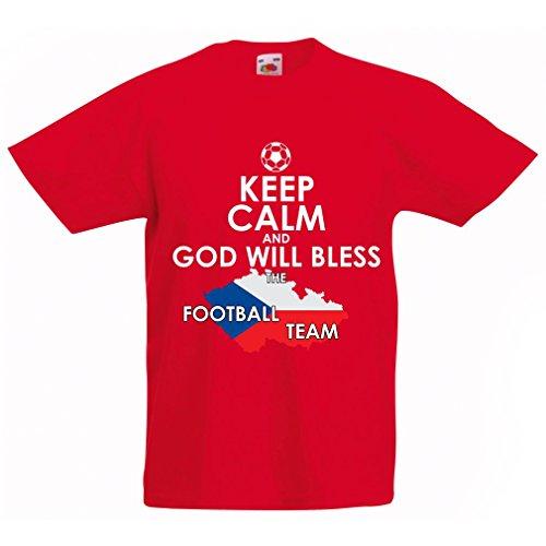 N4495K La Camiseta de los niños God Will Bless Czech National Team (12-13 Years Rojo Multicolor)