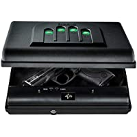 GunVault MicroVault Portable Compact Gun Safe with Illuminated No-Eyes Digital Keypad and Security Cable