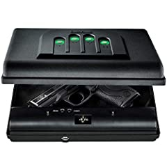 Illuminated No Eyes Digital Keypad : Allows users to unlock the gun safe quickly even in the darkest of places via ergonomic push activated illuminated buttons; A set of backup keys are included feature an enhanced dimpled design Secure Portability :...