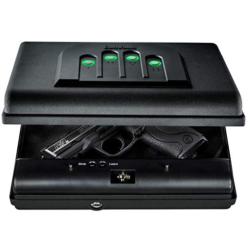 GunVault MicroVault Portable Compact Gun Safe with Illuminated No-Eyes Digital Keypad and Security Cable (1 Pistol Capacity)