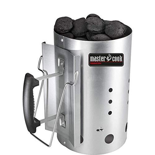 MasterCook ® - Kit Accenditore Barbecue, Impugnatura di Sicurezza in Alluminio, Kit ciminiera accensione, accenditore 30 x 19 cm, Diametro Circa 19 cm, capienza Oltre 1,5 kg
