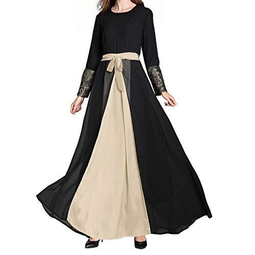 RISTHY Ropa Musulman Mujer Vestidos Largos Gasa Maxi Vestido Suelta Talla Grande Musulmán Abaya Dubai Turquia de Verano Islámica Árabe Kaftan Dubai Empalme Vestidos con Arco