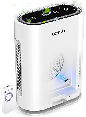 AZEUS 7-in-1 Air Purifier for Large Room to 540 ft²,True HEPA Filter with UV-C Sanitizer and Smart Sensor, Eliminates Germs, Filters Allergies, Pollen, Smoke, Dust Pet Dander, Mold Odors,Night Light
