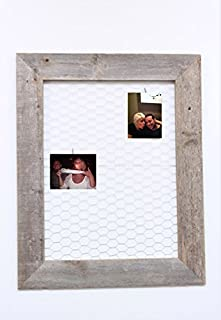Reclaimed Rustic Barnwood Chicken Wire Photo or Message Board - Includes 10 Mini Clothes