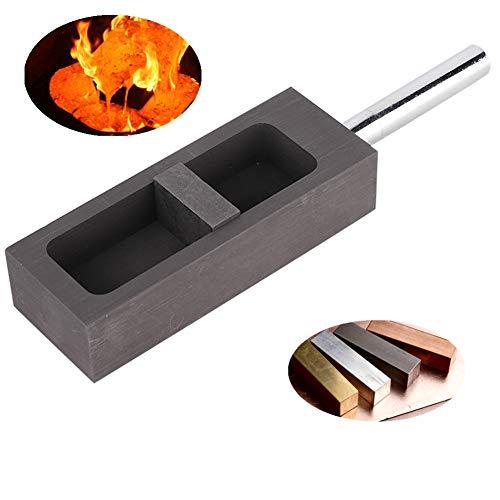 Jadpes Graphitbarren-Gießform, hochfeste Dichte-Reinheit Graphit-Öltank-Tiegel Gold- und Silberbarren-Gießform-Tiegel für die Gold-Silber-Schmelzguss-Raffination(0,5 kg)