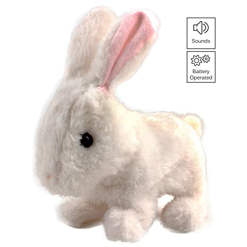 Vokodo Playful Bunny Hops Around Makes Sounds Wiggles Ears And Nose Cute Interactive Rabbit Kids Soft Cuddly Electronic Pet Battery Toy Animal Great Gift For Preschool Children Boy Girl Toddler Easter