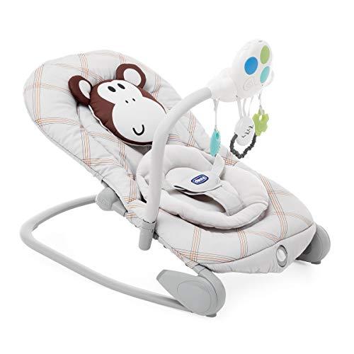 Chicco Balloon - Hamaca Interactiva con Sistema Balancín, de 0 a 18 Kg, con Luces y Sonidos, Estampado Marrón Mono (Monkey), Unisex