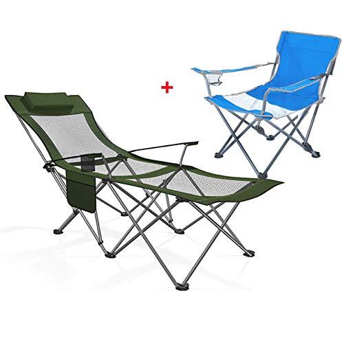 Unknow Lit de Camping inclinable Pliant chaises de Pont extérieures Portables pêche Plage Salon Bureau Sieste avec Porte-gobelet Sac latéral pour Patio pelouse