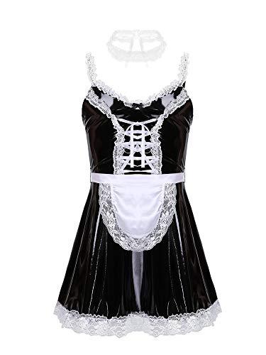 Alvivi Sissy Vestido Cahrol para Hombres Vestido de Tirante de Mucama Disfraz de Sirvienta Conjuntos de Lencería de Cuero con Delantal Choker Encaje Sexy Clubwear Negro L