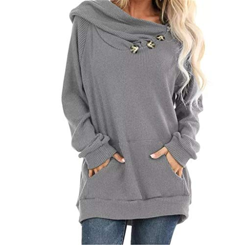 Meikosks Womens Large Pocket Hooded Top Long Sleeve Sweatshirts Pleated Knit Pullover Solid Hoodies Gray