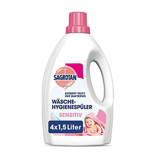 Sagrotan Wäsche-Hygienespüler Sensitiv – Desinfektionsspüler für hygienisch saubere und frische Wäsche – 4 x 1,5 l Reiniger im praktischen Vorteilspack