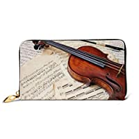 バイオリン 財布 本物の牛革 長財布 おしゃれ ジッパー財布 メンズ レディース 人気 コインケース 高級感 小銭入れ 祭り 贈り物