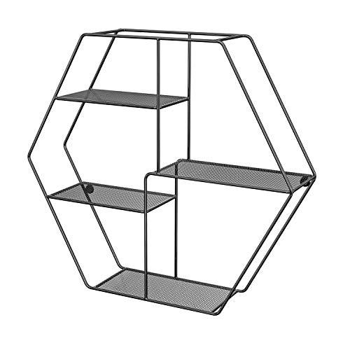 SONGMICS Estante de Pared Hexagonal, Estante Flotante de Metal con 4 Estantes de Malla, 60,5 x 12 x 53 cm, Estante Decorativo, 2 Tornillos Incluidos, para Oficina, Salón, Negro LFS004B01