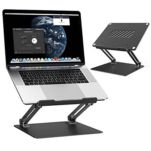 MiiKARE Aluminum Laptop Stand Riser for Desk, Adjustable Height Multi-Angle Laptop Riser with Heat-Vent,Portable Holder Ergonomic Elevator Riser for M'acBook Pro/S'urface Pro/H'P Envy 15 - Black