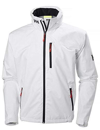 Helly Hansen Men's Crew Hooded Waterproof Windproof Breathable Rain Coat Jacket, 001 White, Large