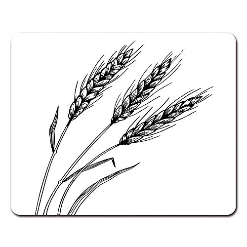 Onete Mouse Pads Cartoon Wheat Ear Spikelet Engraving Scratch Board Style Imitation Black and White Farm Mouse Pad 9.5