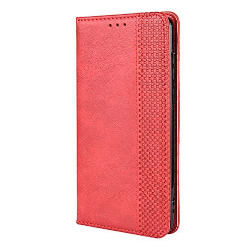 JIUNINE Handyhülle für Blackview A80 / A80S, Hülle PU Leder Kunstleder Flip Hülle mit [Kartenschlitz] [Magnetverschluss] Schutzhülle Tasche Cover Lederhülle für Blackview A80, Rot