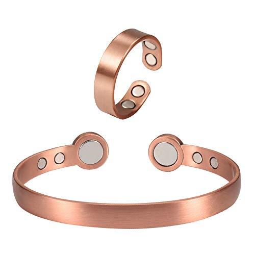 YINOX 99,9% Kupfer Armbänder Ring Schmuck-Sets für Männer und Frauen reines Kupfer Armreif 18 cm verstellbar für Arthritis mit 6 Magneten für effektive Gelenkschmerzlinderung