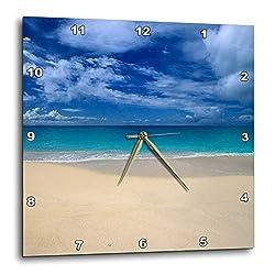 3dRose DPP_75597_3 Caribbean, Antigua, Tropical Beach Scenic-CA03 NWH0072-NIK Wheeler-Wall Clock, 15 by 15-Inch