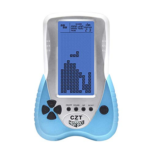 New CZT Upgraded Version Blue Backlight Screen Brick Game Console Support Plug Headphone Built-in 23 Games Classic Nostalgic Puzzle Children Gift Toy Ajustable Blue Backlight Lithium Battery(Blue)