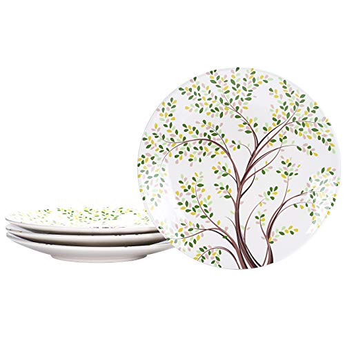 Bico Bird On Tree Ceramic 11 inch Dinner Plates, Set of 4, for Pasta, Salad, Maincourse, Microwave & Dishwasher Safe