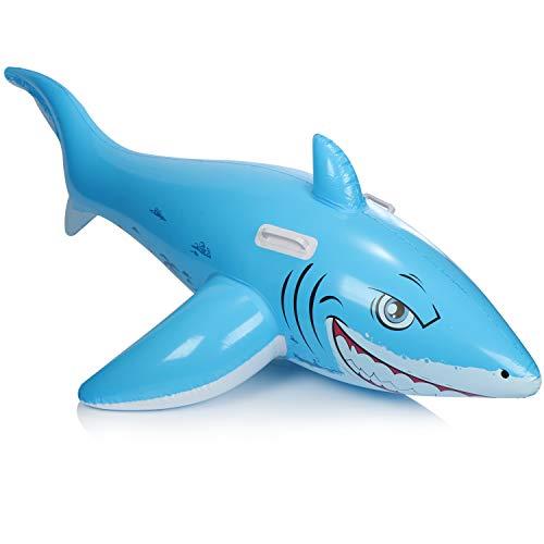 com-four® Schwimmtier aufblasbar im Haifisch Design - Badetier für Strand und Pool - Luftmatratze - Badeinsel - Wasserspielzeug (Hai - blau)