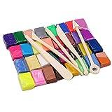 ZREAL - Fimo 5 outils + 32 couleurs four cuire argile polymère bloc modelage moulage outil kit jouets éducatifs pour enfants