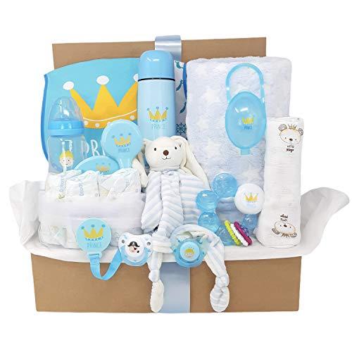 Mababyshop- Cesta Bebé Modelo Baby Kings, que incluye manta, sonajero, chupetes, biberón termo y mucho más… (Azul)