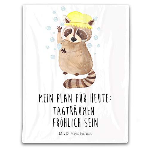 Mr. & Mrs. Panda Kuscheldecke, Wolldecke, 125x155cm Kuscheldecke Waschbär mit Spruch - Farbe Weiß