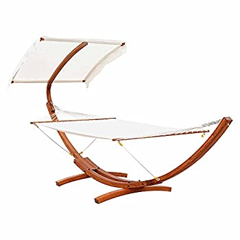 Outsunny Hammock with Wood Stand Canopy Shelter Outdoor Extra Wide Roman Arc Hammock for Patio Balcony Backyard
