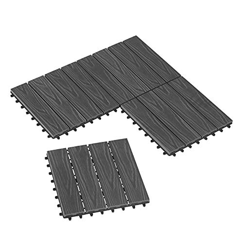 Laneetal WPC Fliesen Klickfliese 3D Holzstruktur, 22er Set Garten Balkon Bodenbelag Terrassenfliesen Klickfliesen Zuschneidbar mit Stecksystem(22 Stück, Hellgrau)
