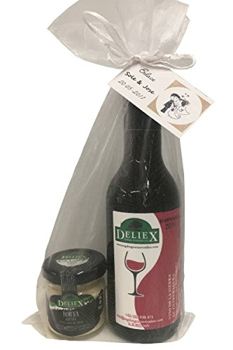 Detalle gourmet de vino tinto extremeño y tarro de crema de queso, marca Deliex en bolsa de organza para invitados (Pack 24 ud)