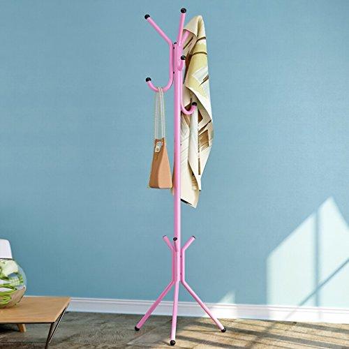 SKC Lighting-Porte-manteau Simple manteau porte-vêtements en métal étagère chambre cintre mode plancher vêtements rack (44 * 44 * 146cm) (Couleur : Rose)