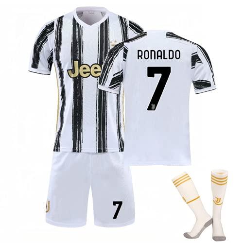 WYIILIN Fußball-T-Shirt 2021 Cristiano Ronaldo Home Stadium No. 7 C R.O.N.A.L.D.O Trikot Kinder-Fußball-Trainings-Trikot-Set mit Socken Fußball-Trikot für Erwachsene, Schwarz und Weiß 24