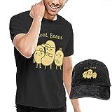 AYYUCY Herren Kurzarmshirt Novelty Men's Cool Beans Hat T-Shirt and Hats Black