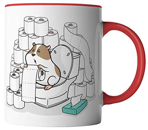 vanVerden tazza – carta igienica Re Criceto Coronavirus 2020 COVID-19 – Stampato su entrambi i lati – idea regalo tazze da caffè con scritta, Ceramica, bianco/rosso
