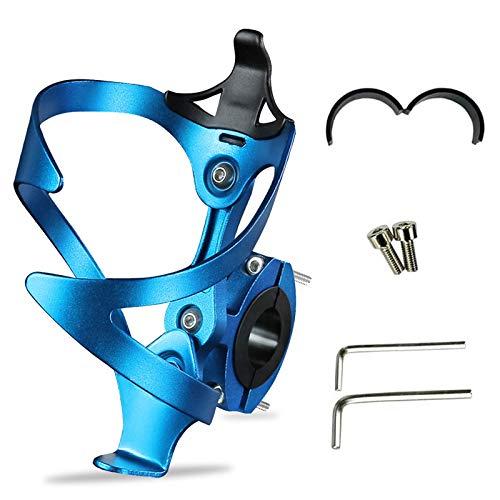 HONZUEN Flaschenhalter Fahrrad mit Flaschenhalter Adapter, Verstellbarer Aluminiumlegierung Getränkehalter Fahrrad, Universal Flaschenhalter für Rennrad, Mountainbikes, Elektrofahrräder(Blau)